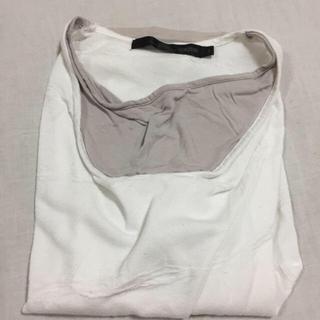 Vネック Tシャツ 重ね着風 カットソー 白(Tシャツ/カットソー(半袖/袖なし))