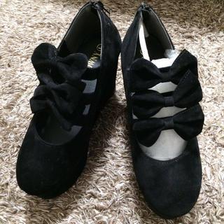 ウィゴー(WEGO)のWEGO/別珍厚底靴ブラック(ハイヒール/パンプス)
