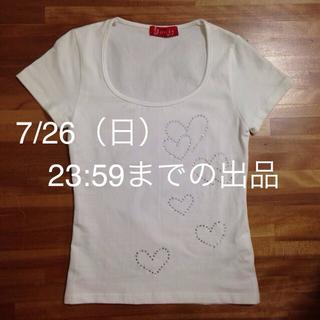 ハートラインストーンつきTシャツ(Tシャツ(半袖/袖なし))