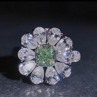 2.5ct★AAAAA モアサナイト グリーンダイヤモンド リング(リング(指輪))