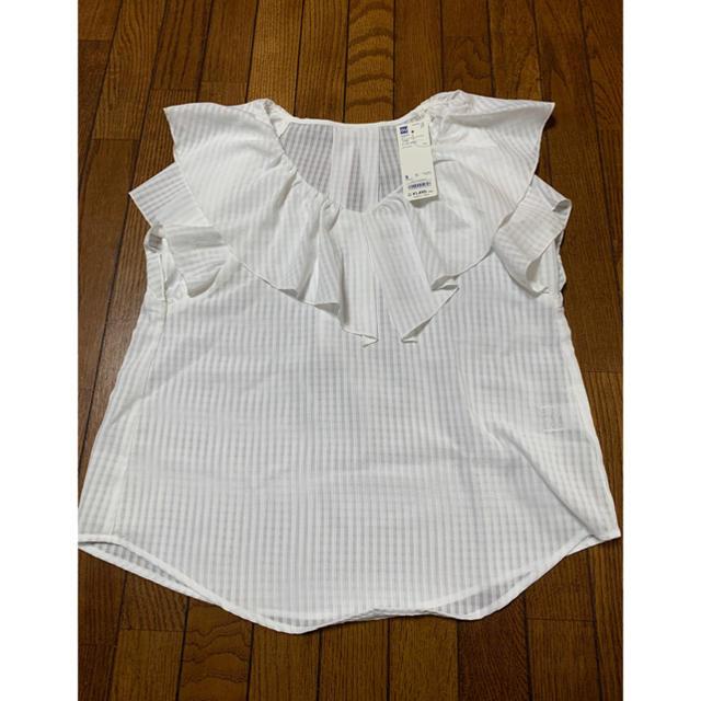 GU(ジーユー)のGU シアーチェックフリルブラウス 半袖 レディースのトップス(シャツ/ブラウス(半袖/袖なし))の商品写真