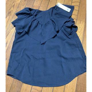 ジーユー(GU)のGU シアーチェックフリルブラウス 半袖(シャツ/ブラウス(半袖/袖なし))