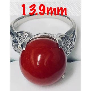 ❤️大粒❤️天然赤珊瑚❤️13.9mmダイヤリング0.20ct/Pt900(リング(指輪))