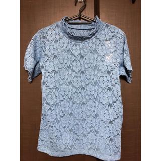 ジーユー(GU)のミントさま 専用♡レース フリルネック シャツ 《ブルー》(シャツ/ブラウス(半袖/袖なし))
