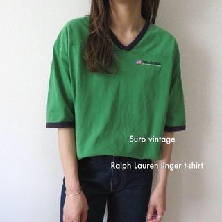 ポロラルフローレン(POLO RALPH LAUREN)の90s Ralph Lauren 刺繍 星条旗 リンガー tシャツ グリーン(Tシャツ(半袖/袖なし))