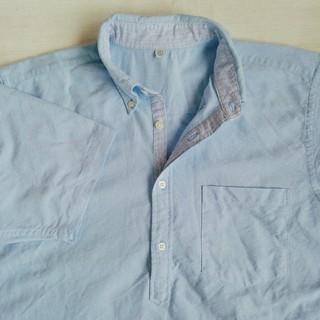 UNIQLO - UNIQLO 紳士 ボタンダウン 半袖プルオーバーシャツ(水色)