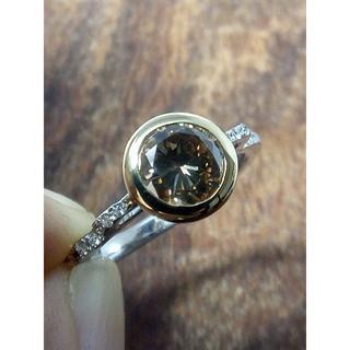 個性的なブラウンダイヤ!Pt900/K18ダイヤリング 10号(リング(指輪))