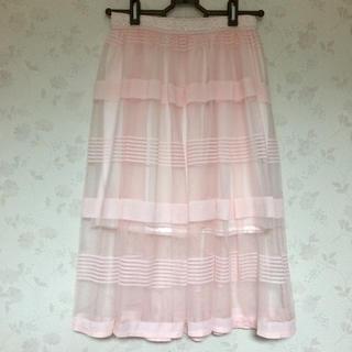 リズリサ(LIZ LISA)のボーダーメッシュ膝丈スカート(ひざ丈スカート)
