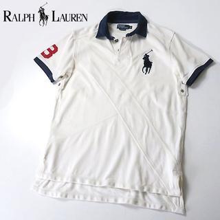 Ralph Lauren - ラルフローレン パッチワーク風 ビッグポニー ラガーシャツ 白紺