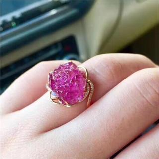 【高級】花型 レッド ピンク トルマリン リング 4.03g k18(リング(指輪))