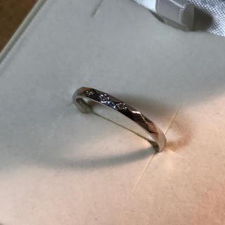 K18 WG カットデザインリング ダイヤ入り 約14号(リング(指輪))
