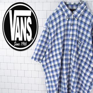 ヴァンズ(VANS)の【オールドバンズ】激レア 刺繍ロゴ チェック柄 ロゴタグ  綿麻 BD半袖シャツ(シャツ)