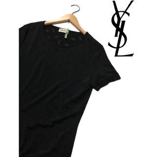 サンローラン(Saint Laurent)のイヴ・サンローラン 総ブランドロゴ 半袖ワンピース ブラック(ロングワンピース/マキシワンピース)