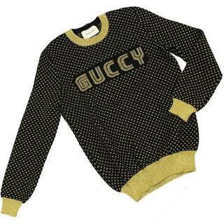 グッチ(Gucci)のグッチ ニットトップス Lサイズ ウール ブラック ゴールド(ニット/セーター)