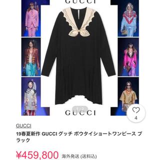 グッチ(Gucci)のGUCCI ボウタイショートワンピース ブラック 19春夏新作(ミニワンピース)