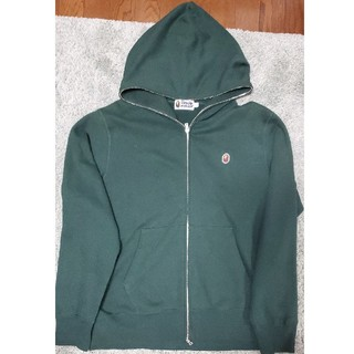 アベイシングエイプ(A BATHING APE)のbape hoodie XL エイプ ワンポイント パーカー グリーン  xl(パーカー)