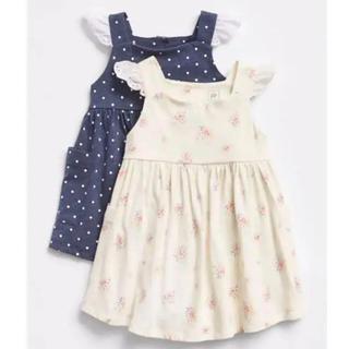 ベビーギャップ(babyGAP)の新品♡baby gap 80 フラッタースリーブドレス 2枚組(ワンピース)
