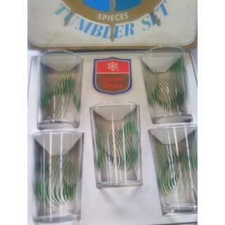 トウヨウササキガラス(東洋佐々木ガラス)の昭和レトロ 佐々木硝子 タンブラーセット 草木幾何学模様 グラス5ピース(グラス/カップ)