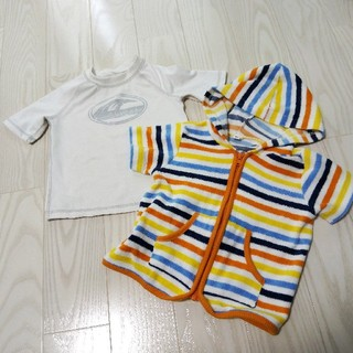 36bbf831f05 ニシマツヤ(西松屋)の半袖 ラッシュガード 80 水着の上から 男の子 女の子 タオル地