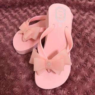 ピンク♡リボン厚底ビーチサンダル(ビーチサンダル)