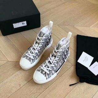 ディオール(Dior)のDIOR ディオール 布靴 カップル レッド (スニーカー)