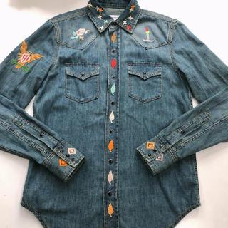サンローラン(Saint Laurent)のサンローラン  刺繍 デニムシャツ(シャツ/ブラウス(長袖/七分))