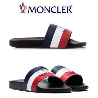 モンクレール(MONCLER)の【10】MONCLER BASILE ブラック×トリコロール サンダル 39(サンダル)