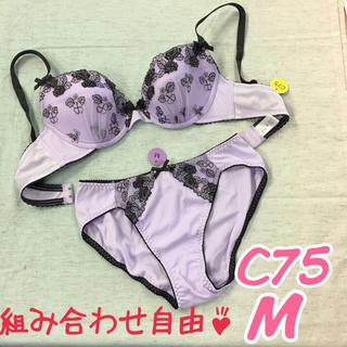 【組み合わせ自由♪】線画調レースブラショーツ C75(ブラ&ショーツセット)