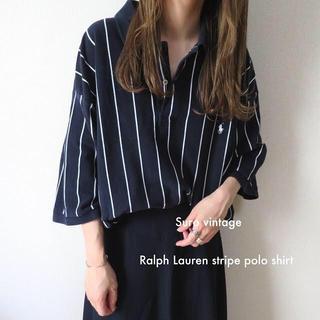 POLO RALPH LAUREN - 90s Ralph Lauren 刺繍 ストライプ ビッグポロシャツ tシャツ