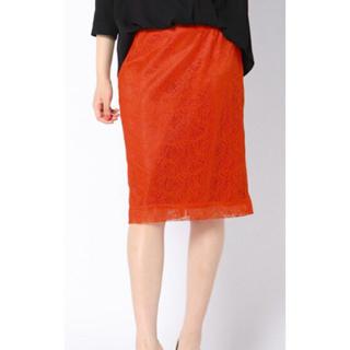 ビッキー(VICKY)のVICKY リーフ柄総レースタイトスカート オレンジ 9号(ひざ丈スカート)