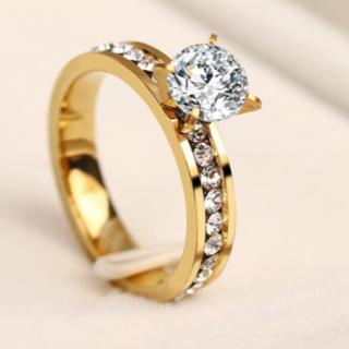 CZクリスタルファッションリング(ゴールド)(リング(指輪))