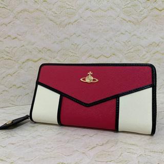 ヴィヴィアンウエストウッド(Vivienne Westwood)のラウンドファスナー長財布 ピーチ&ホワイト ヴィヴィアンウェストウッド(財布)
