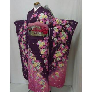 リサイクル高級振袖・袋帯・長襦袢・小物6点セット 京紫色・桜 送料無料(振袖)