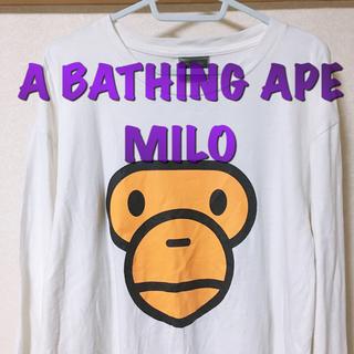 アベイシングエイプ(A BATHING APE)のA BATHING APE 白 ロンT マイロ 送料無料(Tシャツ/カットソー(七分/長袖))