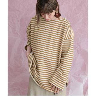 ケービーエフ(KBF)の新品▷KBF*BIGBIGボーダーTシャツ   BROWN(Tシャツ(長袖/七分))