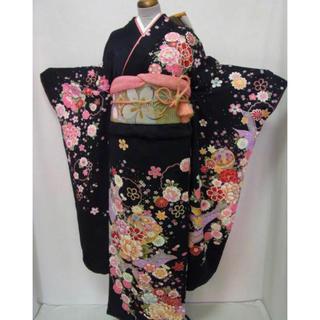 新品正絹振袖・袋帯・長襦袢3点セット 黒・ピンク可愛い和柄  送料無料 (振袖)