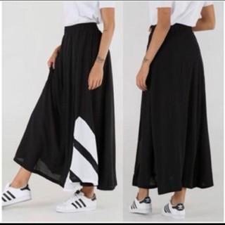 アディダス(adidas)のadidas originals ブラック 3ストライプ ロングマキシスカート(ロングスカート)