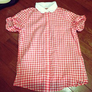 ジーユー(GU)のgu オレンジギンガムチェックシャツ(シャツ/ブラウス(半袖/袖なし))