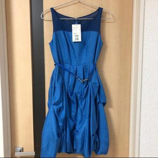 ルスーク(Le souk)の【タグ付き未使用品】LE SOUK バルーン裾ドレス ブルー(ミディアムドレス)