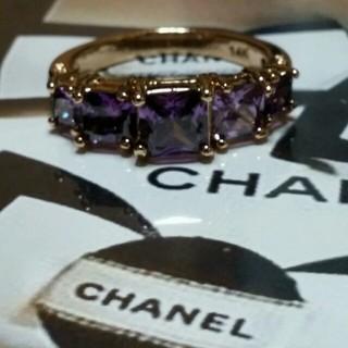 シャネル(CHANEL)の20号 アメジストキュービックダイアモンドゴールドリング(リング(指輪))