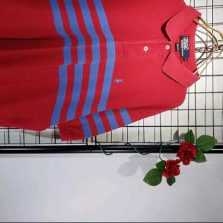ラルフローレン(Ralph Lauren)のPOLO RALPH LAUREN ボーダー L 赤紫 ゆるめ ポロシャツ(ポロシャツ)