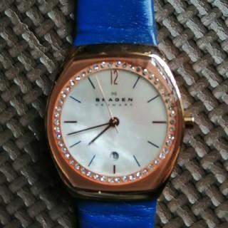 スカーゲン(SKAGEN)の値下げSKAGEN DENMARKマザーオブパールレディースクオーツ腕時計動作品(腕時計)