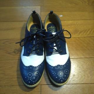 シマムラ(しまむら)の【週末限定】メダリオンシューズ ネイビー Lサイズ(ローファー/革靴)