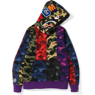 A BATHING APE - BAPE MIX CAMO CRAZY SHARK HOODIE