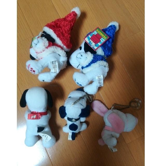 SNOOPY(スヌーピー)のSNOOPY スヌーピー PEANUTS チェーンぬいぐるみ キーホルダー5点 エンタメ/ホビーのおもちゃ/ぬいぐるみ(ぬいぐるみ)の商品写真