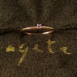 アガット(agete)のアガット アメジストのK10ピンキーリング 3号(リング(指輪))