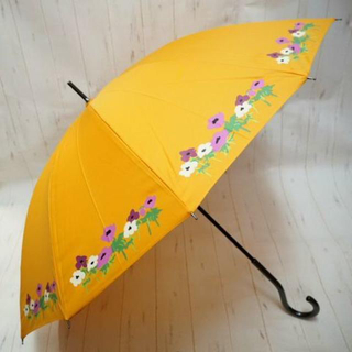 シビラ(Sybilla)のSybilla シビラ 12本骨 長傘 雨傘☆花柄 オレンジ②(傘)