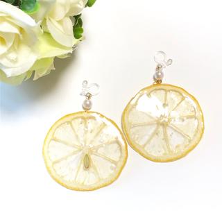 なっちゃん様専用押しフルーツ 輪切りレモンのピアス、オレンジの球体ピアス(ピアス)