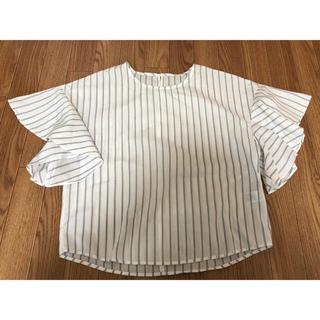 ジーユー(GU)のストライプ ブラウス フリル袖 GU(シャツ/ブラウス(半袖/袖なし))