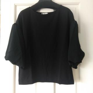 ジーユー(GU)の未使用 gu シアスリーブプルオーバー 黒 Mサイズ(Tシャツ(長袖/七分))